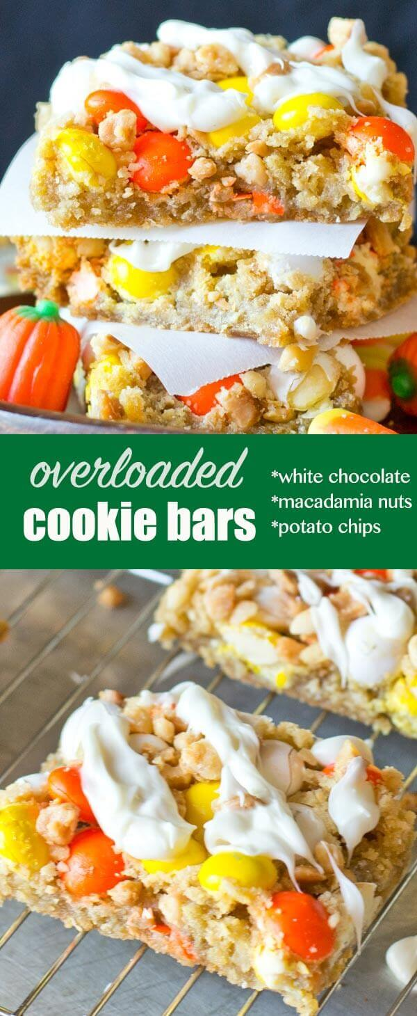 White Chocolate M&M Cookie Bars are chock full of potato chips in the crust, macadamia nuts, Candy Corn M&M's and white chocolate drizzle! White Chocolate M&M Cookie Bars with Potato Chips
