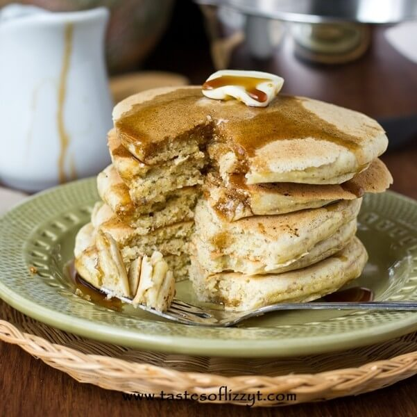 Cornmeal Pancakes with Brown Sugar Maple Syrup