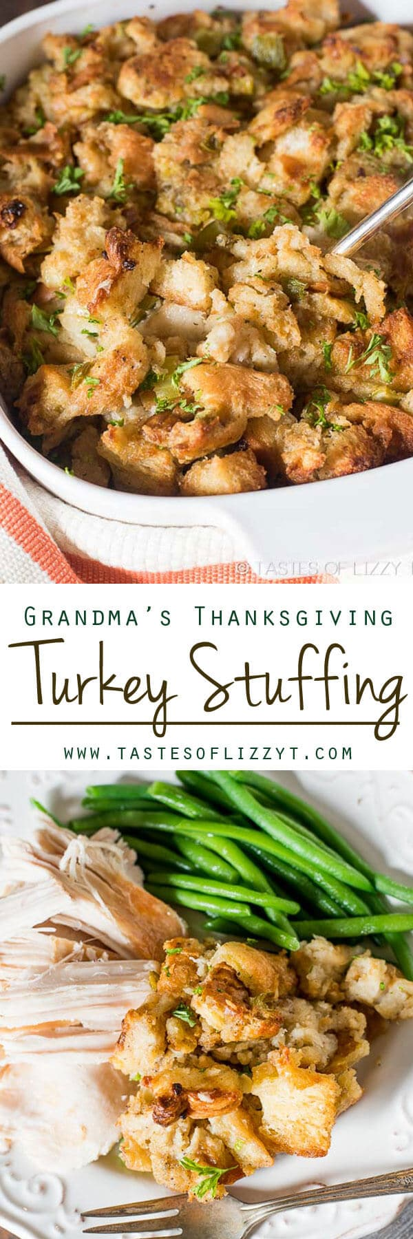 Grandma's Thanksgiving Turkey Stuffing. This is a long-time family recipe for simple and savory turkey stuffing. Bake it in the oven or in the turkey! #stuffing #turkey #thanksgiving