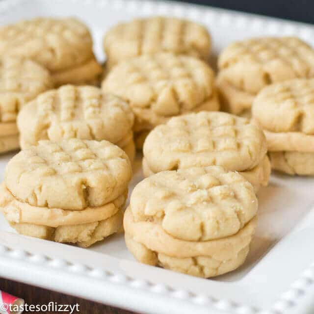 peanut butter sandwich cookies on a plate