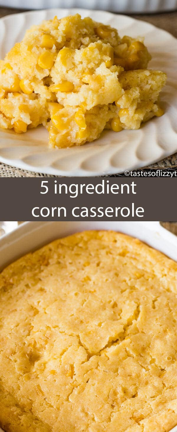 This no-fail corn 5 ingredient corn casserole recipe is versatile and bakes up into a savory side dish that will complement any meal.