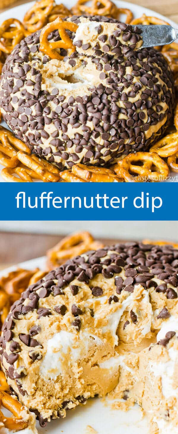 fluffernutter dip / dessert dip recipe / peanut butter / marshmallow fluff / party food / chocolate chips / pretzels / easy dessert
