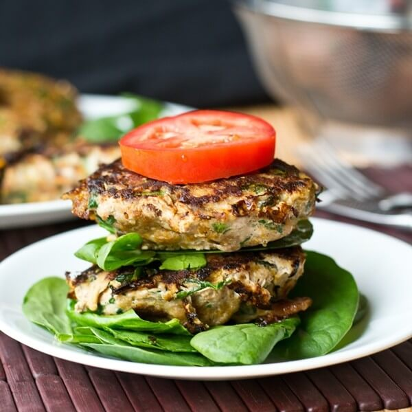 Sweet Potato Spinach Bacon Burgers with tomato and letttuce