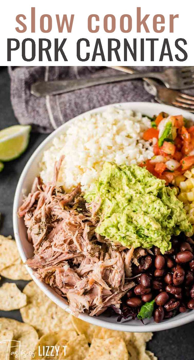 Move over Chipotle! These shredded slow cooker pork carnitas simmers in your crockpot all day and makes burritos or salads with just the right amount of Mexican seasoning. #slowcooker #pork #ohpork #carnitas via @tastesoflizzyt