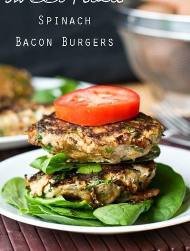 Sweet Potato Spinach Bacon Burgers title image