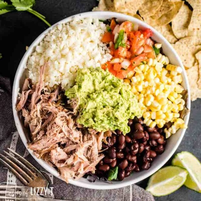burrito bowls with beans and guacamole