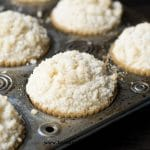 Vanilla Shortcake Muffins with crumb topping