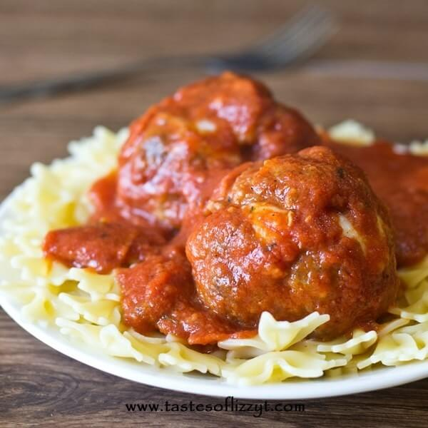 Pepperoni Pizza Meatballs on a plate with pasta