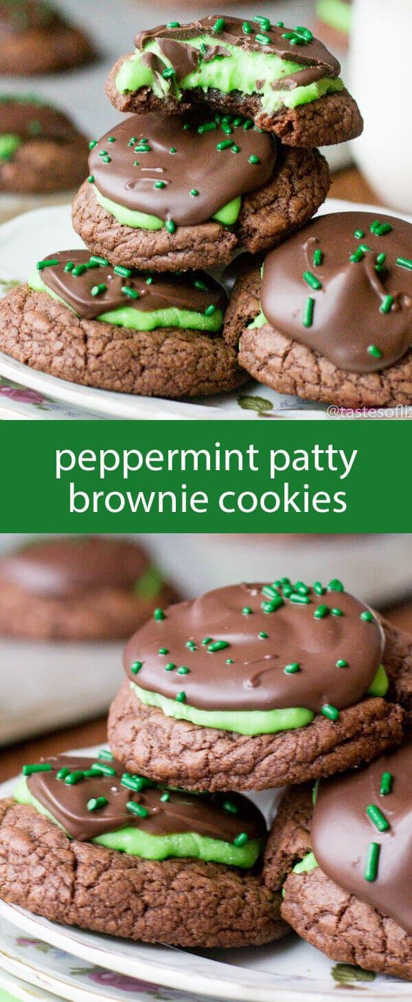 peppermint brownie cookies / mint brownie cookies / brownie mix cookies / easy cookie recipe / peppermint patties / homemade peppermint
