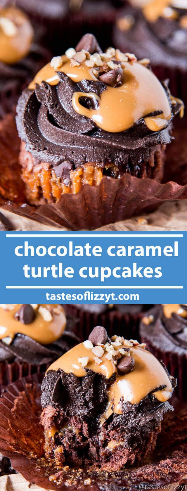Chocolate Caramel Turtle Cupcakes have creamy caramel, chocolate chips and pecans on the inside and are topped with chocolate buttercream. They have an unbeatable fudgy, brownie-like flavor and texture. easy cupcake recipe / caramel cupcakes / semi-homemade cupcake recipe