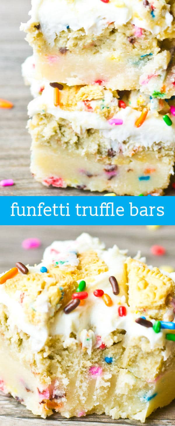 Funfetti Truffle Bars {Layers of Buttery Shortbread, Oreo Truffle Filling & Frosting}