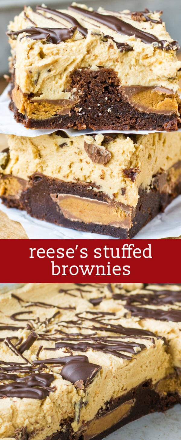 Reese's peanut butter cups stuffed inside soft, chewy brownies. Top the Reese's Stuffed Brownies with this unbelievable peanut butter frosting! homemade brownies / peanut butter brownies