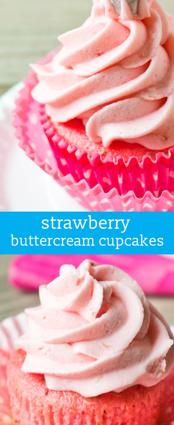 Strawberry Buttercream Cupcakes: Use a boxed cake mix and jello to make these simple strawberry cupcakes. homemade cupcakes / pink cupcakes