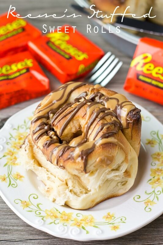 Reese's Stuffed Sweet Rolls. Why not have Reese's peanut butter cups for breakfast Peanut butter cream and Reese's are stuffed inside this sweet bread.