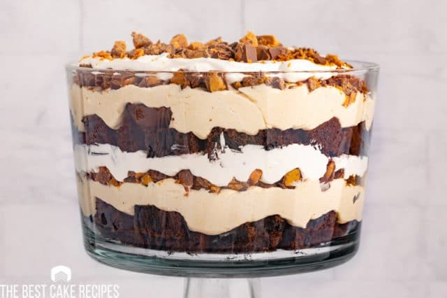 chocolate peanut butter trifle in a glass dish