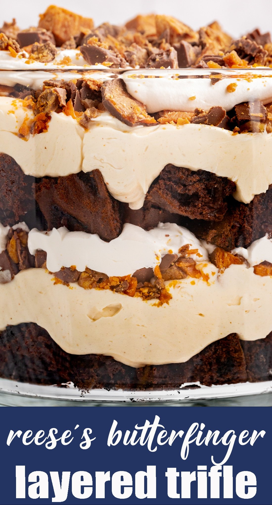 Reese's Butterfinger Cream Cheese Trifle has an Oreo cake layered with fluffy cream cheese filling and chopped up Butterfinger and Reese's. via @tastesoflizzyt