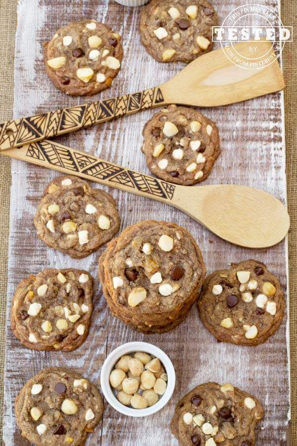 Tropical Paradise Cookies. A twist on chocolate chip cookie classic with White and bittersweet chocolate chips, coconut, macadamia nuts and chopped dried mango.