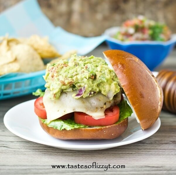 Mexican Guacamole Burger with bun off to the side