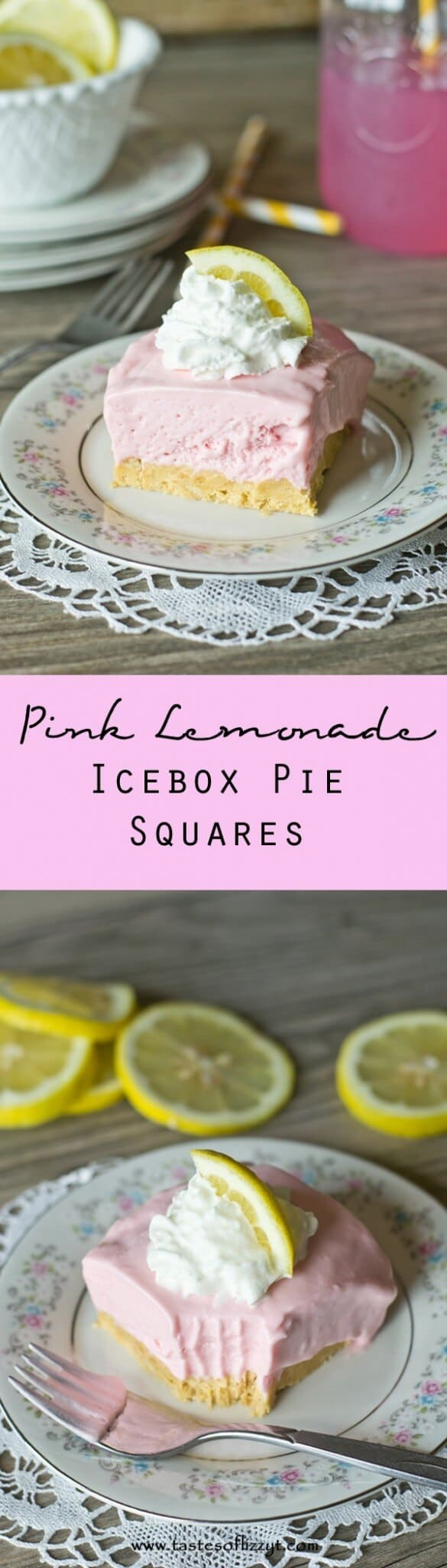 This no-bake Pink Lemonade Icebox Pie Squares are cool, light and refreshing.