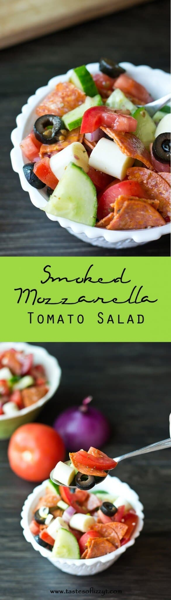 Smoked Mozzarella Tomato Salad {Easy Weight Watchers Summer Lunch Recipe} Smoked Mozzarella Tomato Salad is a healthy side dish combining the flavors of pepperoni, garlic, red onion, red wine vinegar and smoked mozzarella!