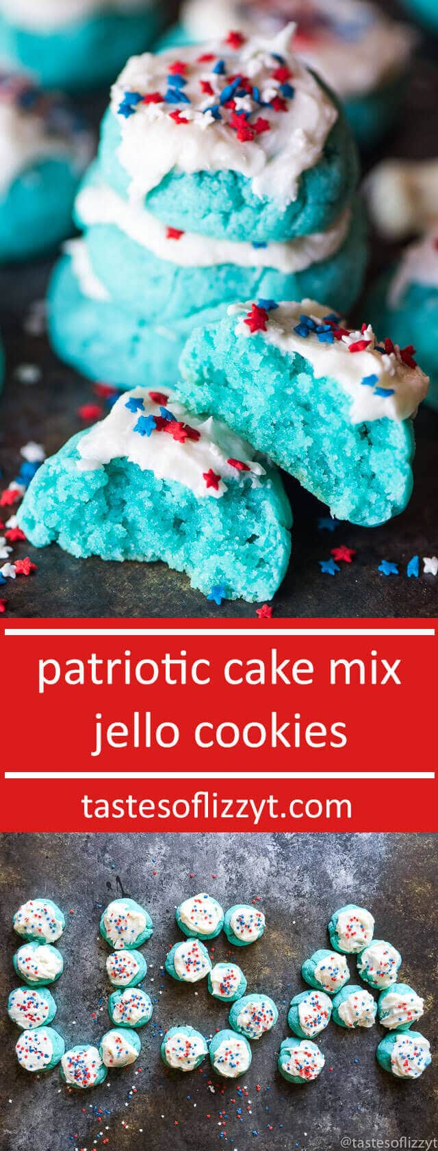 Patriotic Cake Mix Jello Cookies. A wonderful combination of a boxed cake mix and Jell-O. These are so simple and fun to decorate for the 4th of July! easy patriotic dessert recipe