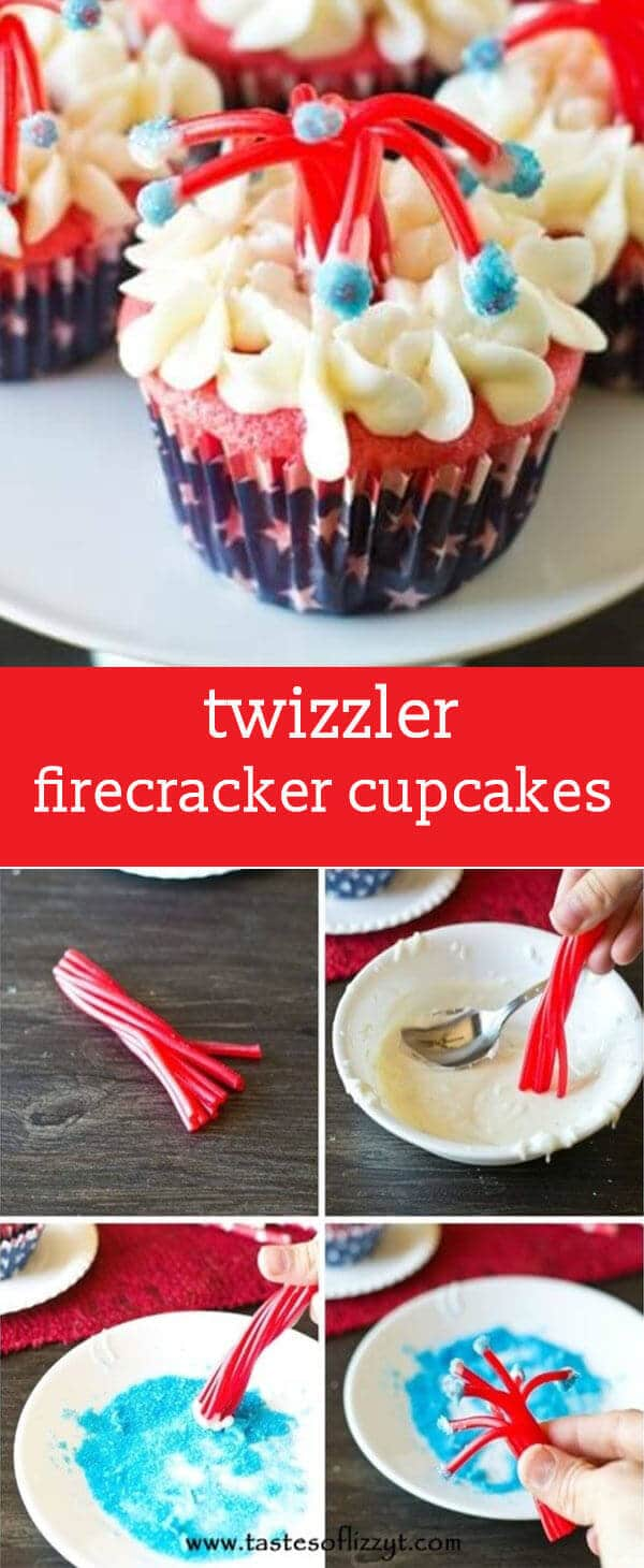 Make a bang at your July 4th party with these Twizzler Firecracker Cupcakes! These patriotic treats are a fun, edible craft for kids to make.