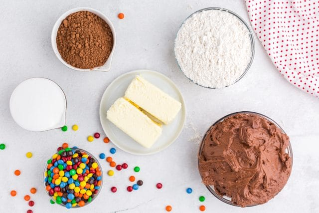 ingredients for chocolate shortbread bars