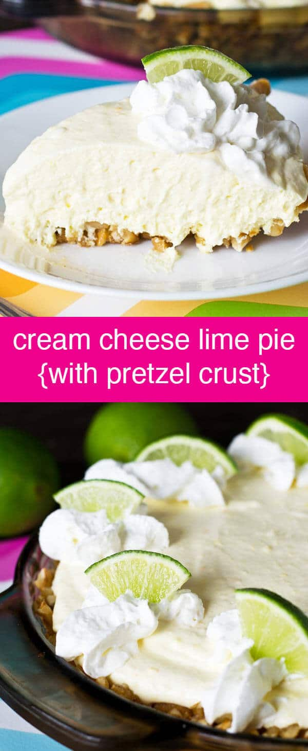 Cream Cheese Lime Pie {Easy No Bake Filling & Pretzel Crust}  Cream Cheese Lime Pie is a cool, creamy dessert with sweet cream, tangy lime and a salty crushed pretzel crust. Make it no-bake with a store bought crust!