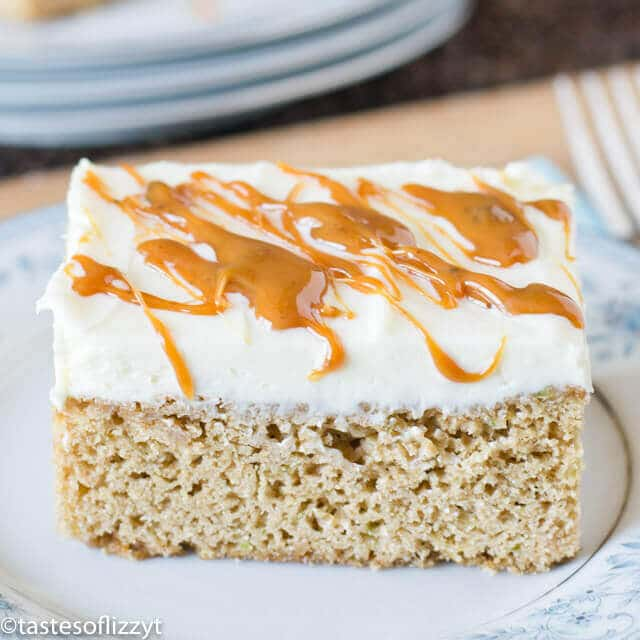 frosted caramel zucchini bars: easy homemade blondie recipe
