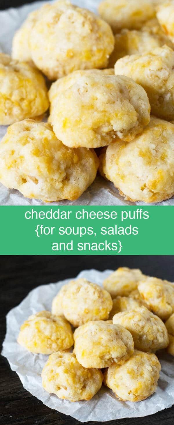 Homemade Cheddar Cheese Puffs {Homemade Cheddar Croutons} Homemade Cheddar Cheese Puffs are great for school lunches, after school snacks, or salad & soup toppers. They've got a crunch, but will melt in your mouth!