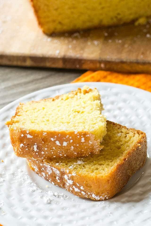 orange quick bread on a plate