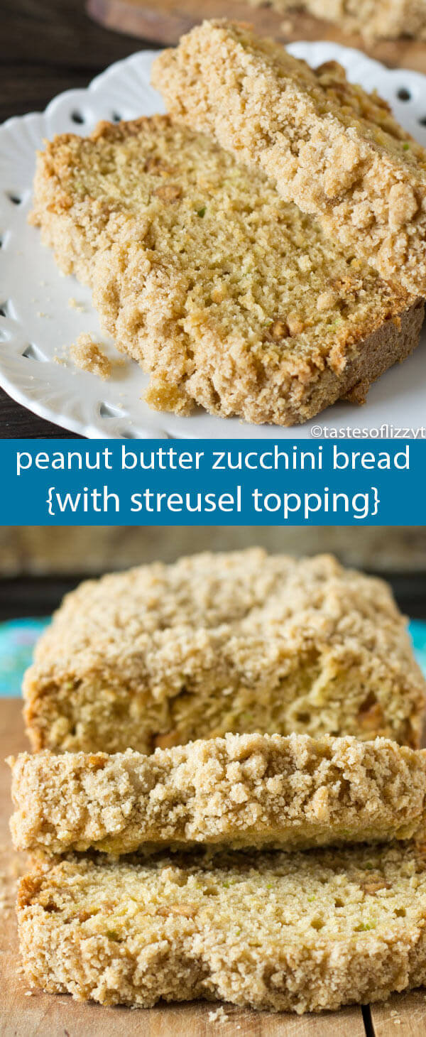 Hide your zucchini in this Peanut Butter Zucchini Bread with Brown Sugar Streusel. You'll never guess this bread has veggies inside!
