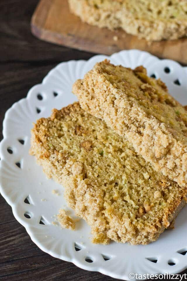 Two slices of homemade zucchini bread with brown sugar streusel