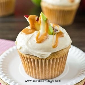 closeup of apple cupcake with caramel drizzle