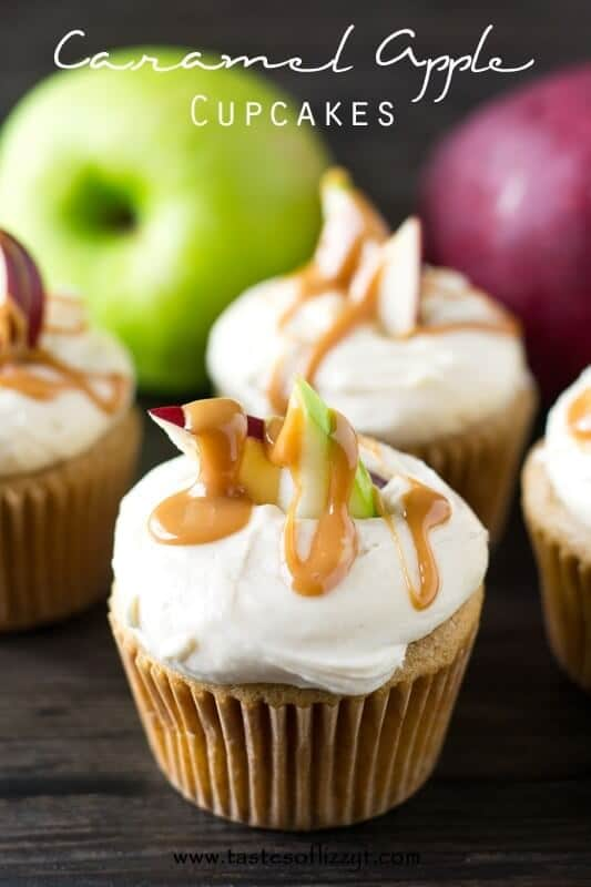 Soft cupcakes with flavored with apple and caramel in both the cupcake and the buttercream.  Decorate the top with apple slices and drizzle with caramel for a pretty look!
