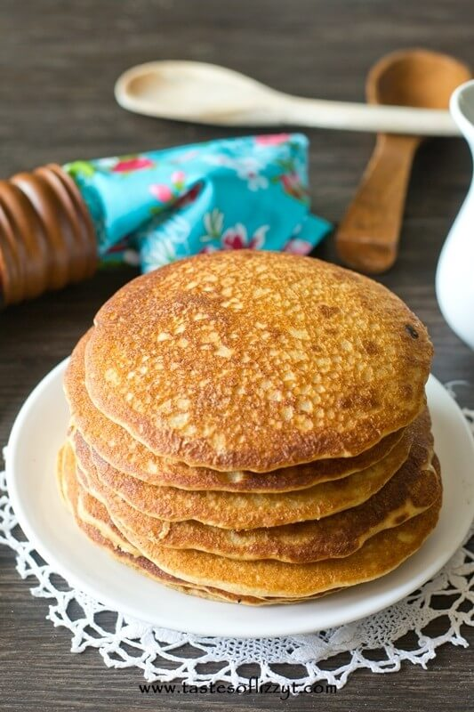 Honey wheat pancakes make a healthy start to your day. Instead of maple syrup, make this simple honey butter syrup for a fun change!