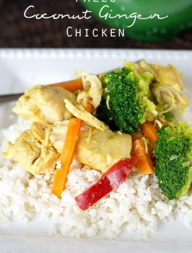 If you love comforting, creamy chicken dishes, you'll love this Paleo Coconut Ginger Chicken served over cauliflower rice. It's made in your slow cooker and is grain free, dairy free and sugar free.