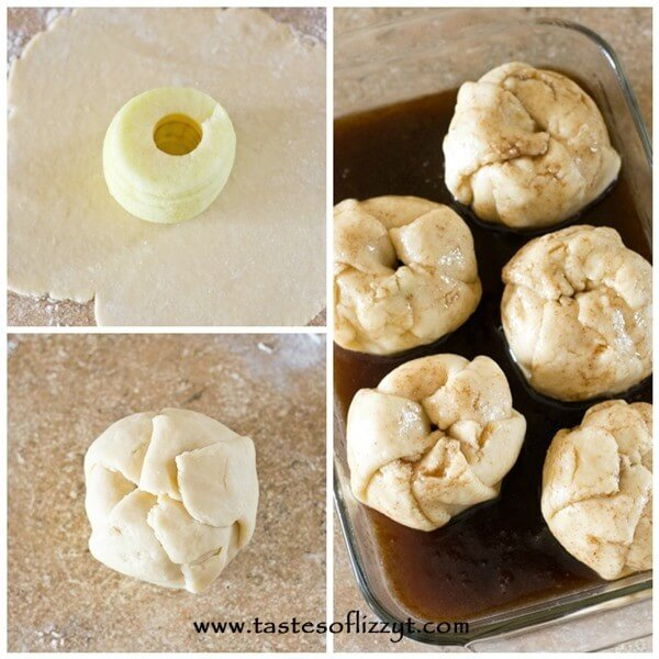 photo collage showing how to make Amish apple dumplings from scratch