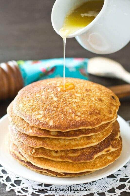 Honey Wheat Pancakes With Honey Butter Syrup