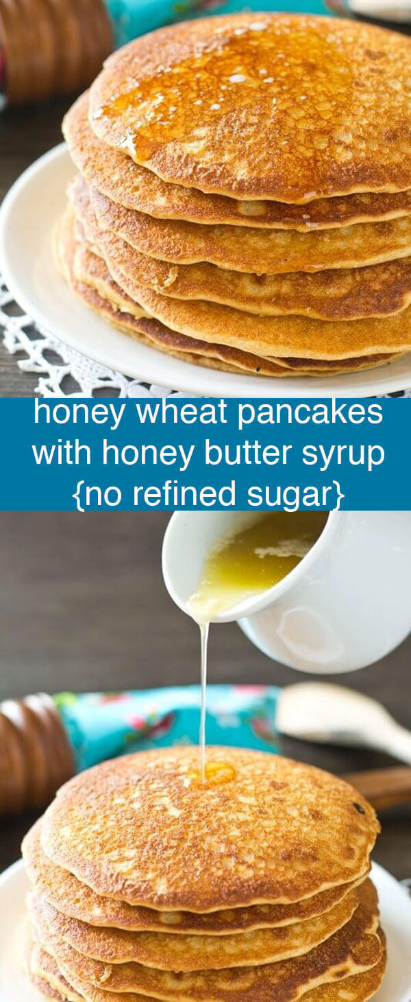 Honey wheat pancakes make a healthy start to your day. Instead of maple syrup, make this simple honey butter syrup for a fun change! Honey Wheat Pancakes with Honey Butter Syrup {No Refined Sugar}