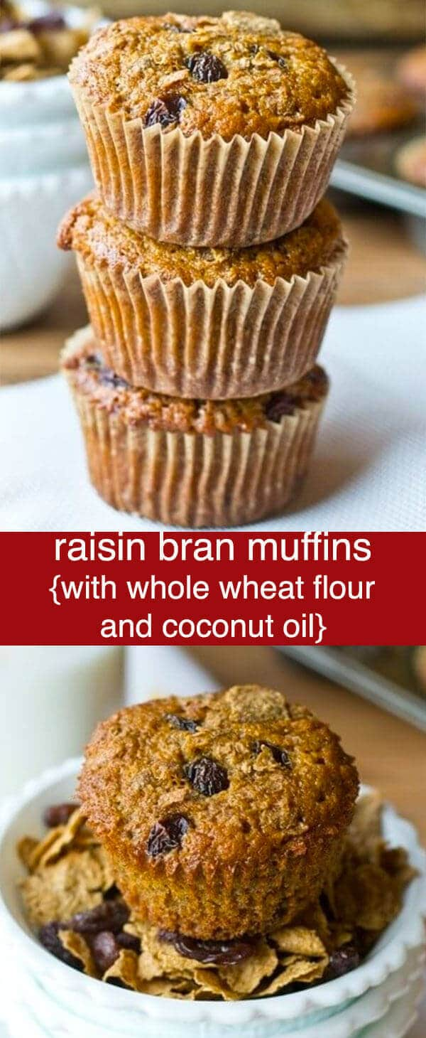 Raisin Bran Muffins are made with whole wheat flour, bran flakes and raisins for a sweet, healthy start to your day. Delicious freezer muffin recipe. Raisin Bran Muffins {with Whole Wheat Flour and Coconut Oil}