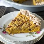 plated slice of pumpkin pecan cookie pie