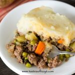 plate of shepherd's pie with a fork