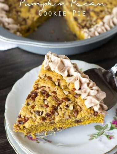 slice of pumpkin pecan cookie pie