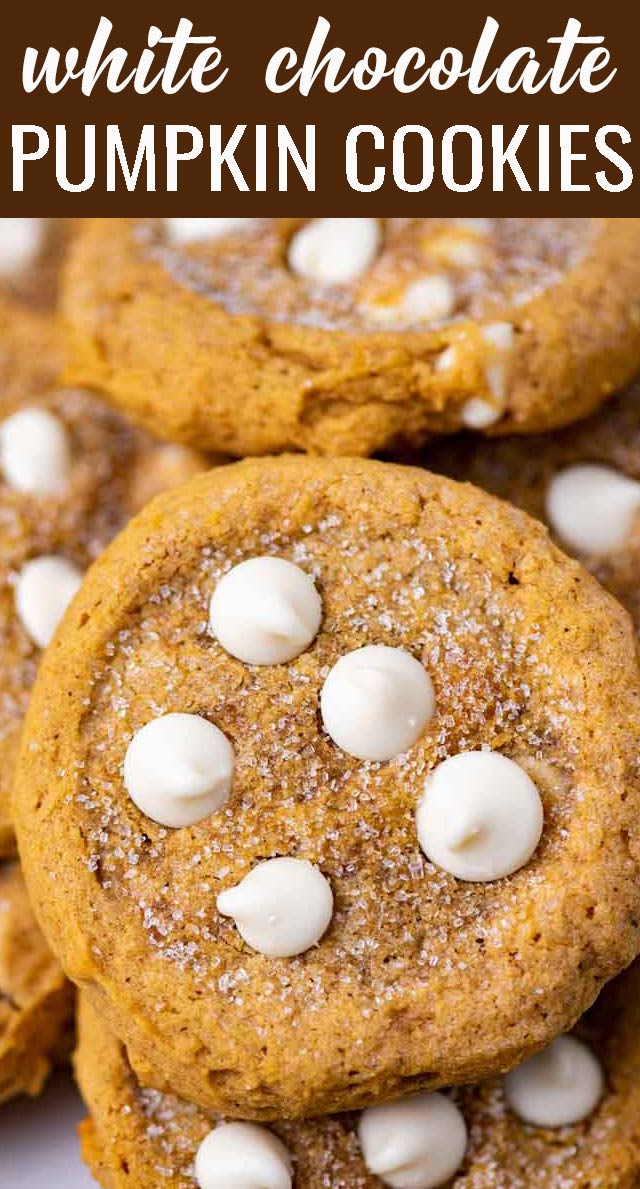 Learn the technique to make White Chocolate Chip Pumpkin Cookies that are perfectly soft and chewy, not cakey at all. Just like a good pumpkin cookie should be! via @tastesoflizzyt