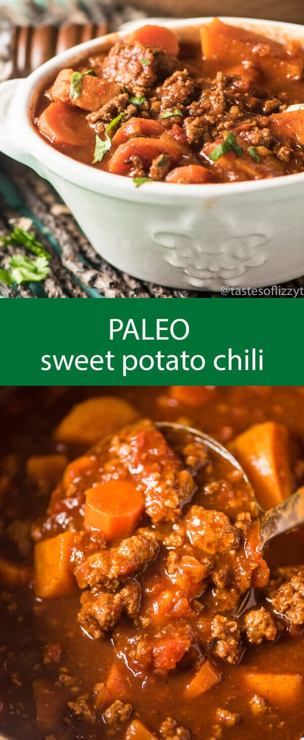 paleo sweet potato chili / whole30 chili recipe / spicy chili / slow cooker chili / healthy chili / gluten free / grain free / sugar free