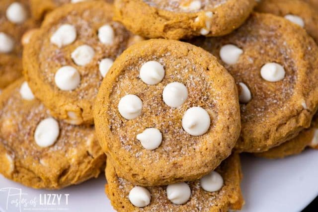 plate of pumpkin cookies with white chocolate chips