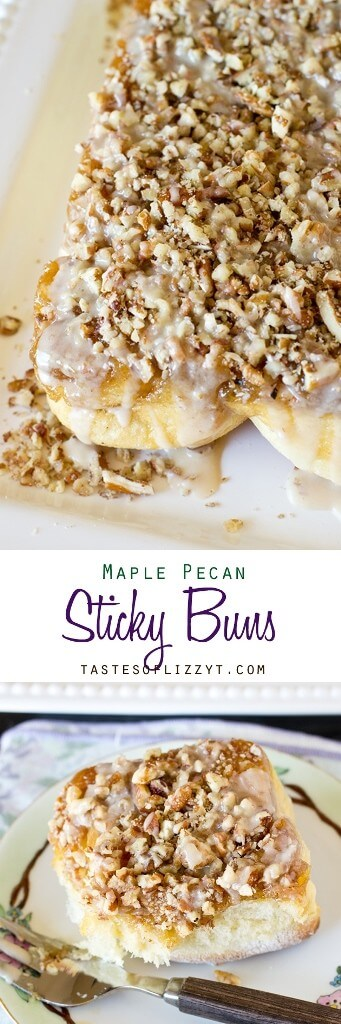 Maple Pecan Sticky Buns are swirled with cinnamon, drenched with maple syrup and topped with pecans and a maple syrup glaze. Maple Pecan Sticky Buns {An Amish Cinnamon Roll Recipe} #stickybuns #pecanrolls #breakfast