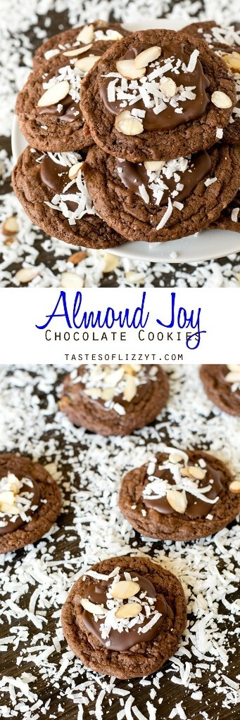 Bake these Almond Joy Chocolate Cookies for the coconut lover in your life. They're fudgy with chopped Mounds bars inside and chocolate, coconut and almonds on top. Almond Joy Chocolate Cookies Recipe {with Almond and Coconut}