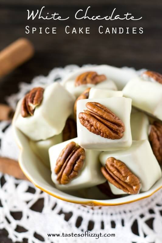 White Chocolate Spice Cake Candies are an easy, no-bake dessert that starts with a boxed cake mix. Fudge-like and bite-size, these would make an impressive addition to your cookie tray this baking season.
